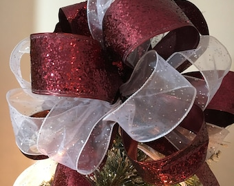 Large glitter burgundy and sheer white w/ silver flecks Christmas Tree topper bow  6 ft. tails