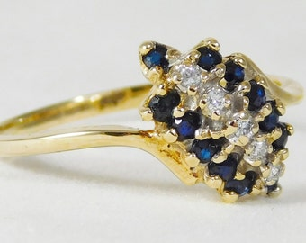 10k Gold ring with Diamonds and Sapphires