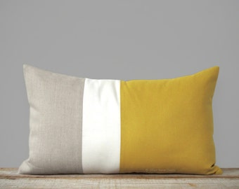 Colorblock Pillow in Mustard Yellow, Cream & Natural Linen (12x20) by JillianReneDecor -  Modern Home Decor - Gold (Custom Sizes Available)