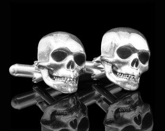 Skull Cufflinks.  Silver Skull Cufflinks.  Skull Jewelry.  Bikers Jewelry.  Rocker Jewelry. Jim Morrison Inspired Cufflinks.
