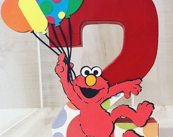 Elmo sesame street birthday party number decoration