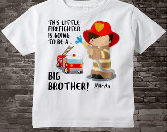 Big Brother Shirt I'm going to Be a Big Brother Firefighter Tee Shirt or Big Brother Onesie Pregnancy Announcement, Big Brother 08102015d