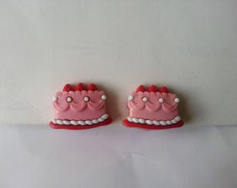 Clip earrings ♥♥♥♥ ♥ ♥ pink cupcakes
