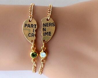 sister bracelet, PARTNERS IN CRIME bracelet, birthstone friendship bracelet set, best friends, best bitches, broken heart, sisters jwelry