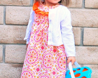 Lily Bird Studio PDF sewing pattern Alana dress -  1 to 10 years - high waist, ruffled yoke, piping