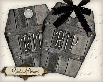 Halloween Coffin Tags Halloween labels instant download printable tags digital Collage Sheet VD0468