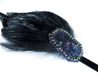 Gatsby Headband for Gatsby dress, Great Gatsby headpiece, 1920s headband, 1920s hair accessory Flapper headpiece, Feather headband