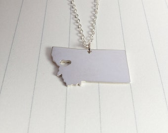 Montana State Charm Necklace,Silver Montana State Necklace,MT State Necklace,State Shaped Necklace  With A Heart