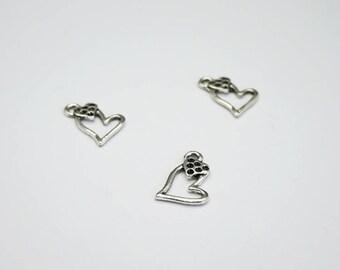 SET of 10 double charm silver heart (E02)