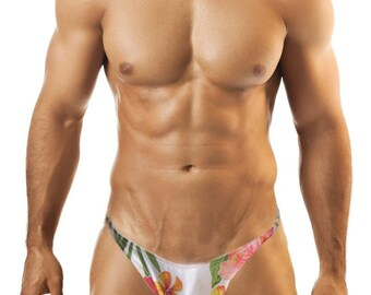 Tropical Print Men's Posing Swim Suit, Fully Lined