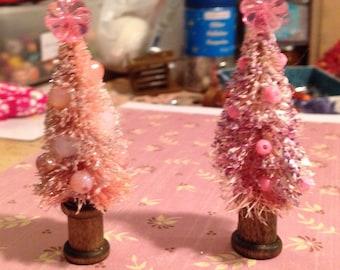 2 cute pink bottlebrush trees