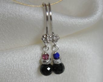 Earrings black spinel with garnet or lapis lazuli rhodium plated pierced earrings black spinel with garnet or lapis lazuli rhodium