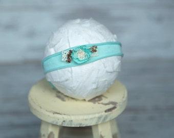 SALE * Seafoam Jersey Knit *  Tieback * Headband *  Newborn Tieback * Toddler  *  Photo Prop*