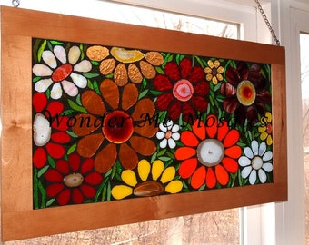 Stained Glass Mosaic - Large Garden of Flowers