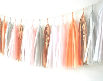 Tissue Tassel Garland - 'Copper Cloud'  - Balloon Tails / Balloon Tassels / Garland / Nursery Garland / Wedding Decor