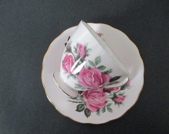 Cup and Saucer Tea Cup Pale Pink Cottage Roses
