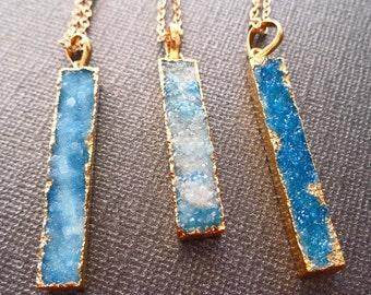 Blue Druzy Bar Necklace / Light Blue Druzy / Natural Blue Druzy Necklace / Blue Stone Crystal Necklace / Gold edge Druzy bar /GD32