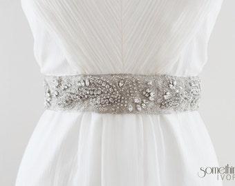 ALI - Rhinestone Beaded Bridal Sash, Wedding Belt