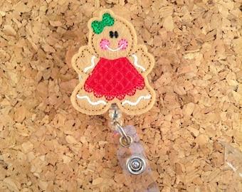 Gingerbread Girl Badge Reel, ID Badge Reel, Christmas Felt Badge Reel, Retractable Name Holder, Nurse Gift,  1020