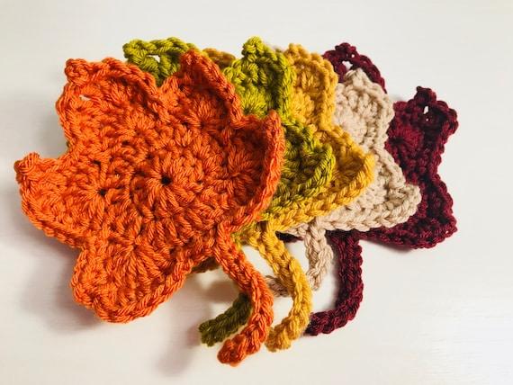 Crochet Fall Leaves Coasters, Fall Decor, Fall Leaves, Fall Coasters