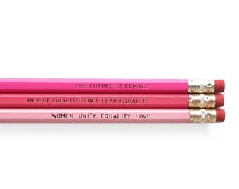 Pink and Gold Feminist Pencil Set - Set of 6 Pencils