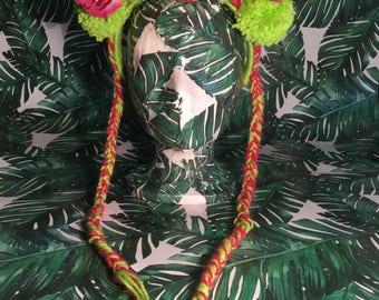 Bright Green and Fushia Pink Flower & Pom Pom Headpiece