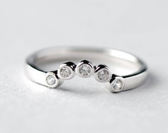 14k White Gold Ring Guard, Ring Enhancer, Bezel Enhancer, Bezel Ring, Rose and Choc Ring, 925 Sterling Silver Ring