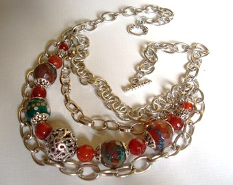 Fire Agate and Silver Chain Necklace