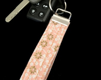 Pink With Flowers Keychain Key Fob Lanyard