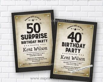 birthday invitation, vintage birthday,  vintage invitation, men party, adult birthday, men birthday, man birthday, surprise party,  card 512