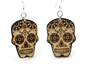 Sugar Skull - Day Of The Dead - Wood Earrings