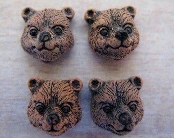 4 Ceramic Beads Tiny Brown Bear Head - CB328