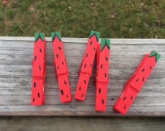 Handpainted Strawberry standard Wooden Clothespins