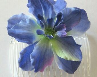 "2.75"" Periwinkle Blue Apple Blossom Silk Flower Hair Comb"