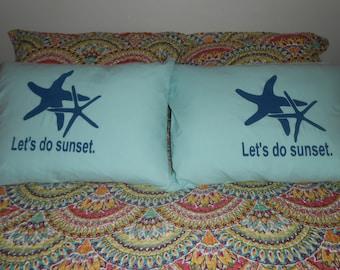 "Nautical Set of Pillowcases ""Let's do sunset"""