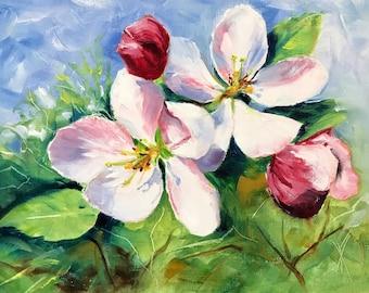 Painting original oil - Apple blossoms (oilpainting spring spring spring Fuchsia blossom apple tree)