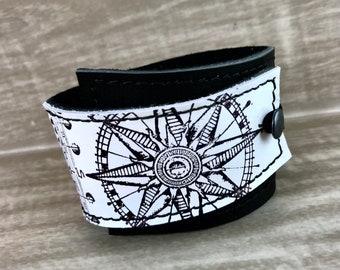 Leather Cuff Wrap Bracelet, Equinox Print in Black & White