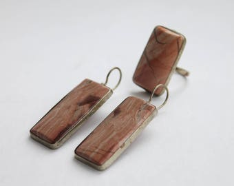 Vintage Jasper set, Pink Jasper Set, Jasper ring, Jasper earrings, boho style set #324 Free shipping