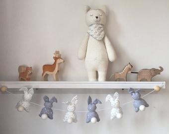Garland rabbits tones white silver and gray polka dots