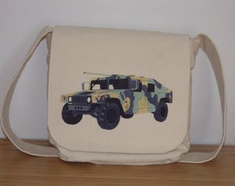 Embroidered Crossbody Bag. Messenger Bag. Everyday Bag. School Bag. Travel Bag. Embroidered Camouflage Humvee. Off-White Cotton Canvas Bag