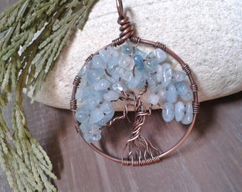 Copper pendant, Tree of life, aquamarine stones, 7 year anniversary, Lucky Charm, gift for her