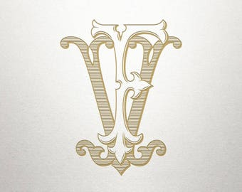 Wedding Invitation Monogram - FV VF - Invitation Monogram - Vintage