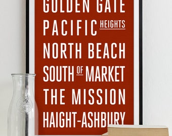 San Francisco Subway Sign Print Bus Roll City Poster