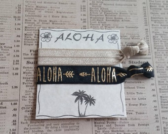 Gorgeous ALOHA Hair Ties, hawaiian wedding, bridal shower, bachelorette favors, bridesmaid, baby shower, hair tie favors, beach hair