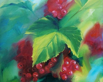 Red currant berries oil painting ORIGINAL semi-abstract oil painting, SALE 11*14 inches, fine art Gallery quality