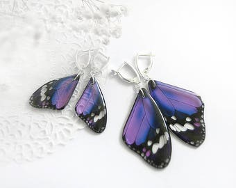 Wedding earrings for bridesmaid gift Purple butterfly earrings Butterfly jewelry set Elegant jewelry for women gift ultra violet earrings