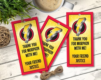 Power Ranger Favor Tags - Power Ranger Party, Thank You Tag, Party Gift Tag | Editable Text - DIY Instant Download PDF Printable