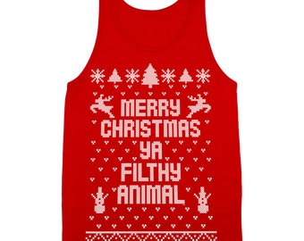 Merry Christmas Ya Filthy Animal Ugly Sweater Contest Retro Cute Tank Top DB0002