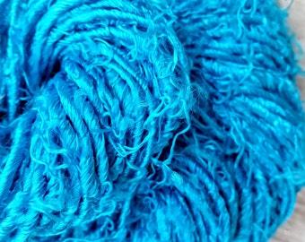 Bright Turquoise / Cyan Blue Handspun Banana Viscose/Silk Blended Yarn 'Lagoon' Chunky, Silky, Eyelash Style 100g approx 40yards/37metres