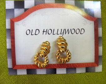 SIGNED K.J.L. Designer, Door Knoker Dangle Clip Earrings